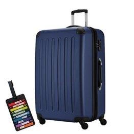 HAUPTSTADTKOFFER® Hartschalen Koffer SPREE 1203 · NEU 4 Doppel-Rollen · MATT · TSA Zahlenschloss · + KOFFERANHÄNGER (128 Liter, Dunkelblau) -