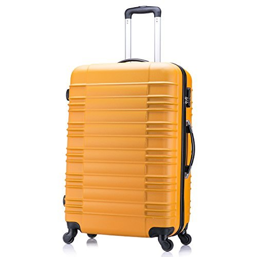 5 teiliges Koffer Set Hartschalenkoffer von Jalano Reisekofferset ineinander stapelbar Gepäck Set Koffer Trolley Hartschale in 4 Farben, Farbe:orange -