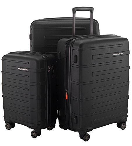 HAUPTSTADTKOFFER Ostkreuz Kofferset oder einzeln Trolley Gepäck TSA (37, 82 & 126 Liter) - SCHWARZ MATT + Kofferanhänger in Rot (Set) -