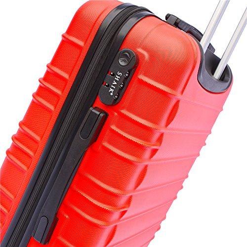 SHAIK® 3-tlg. DESIGN CLASSIC Hartschalen Kofferset, Trolley, Koffer, Reisekoffer, 40/78/124 Liter, 4 Doppelrollen, (Rot) -