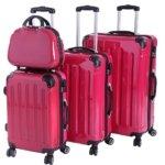 Ein Hartschalenkoffer in pink als Set