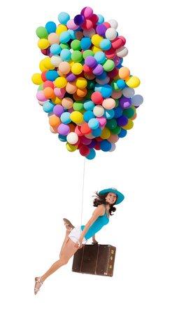 Extra leichter Koffer an Ballons