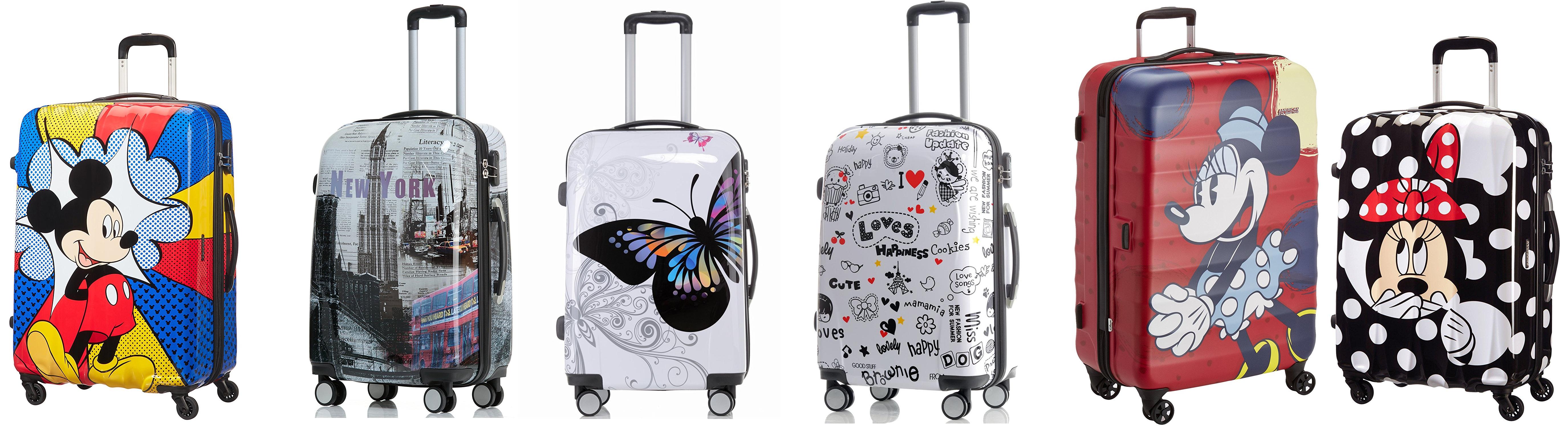 Sechs Koffer mit verschiedenen Motiven
