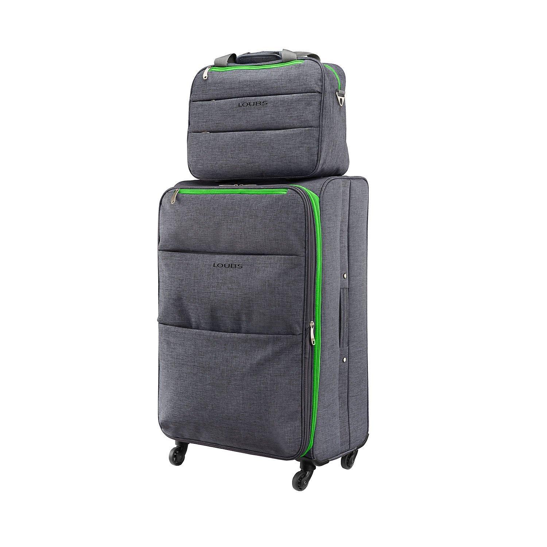 Grauer Loubs Koffer mit grünen Akzenten